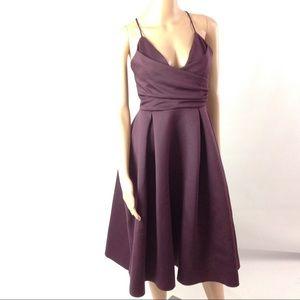 Asos Women Fit Flare Dress Midi Purple Size 6